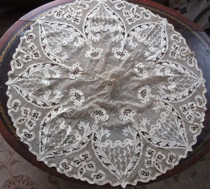 Antique Tambour Embroidered Applique on Net Lace Parasol Cover