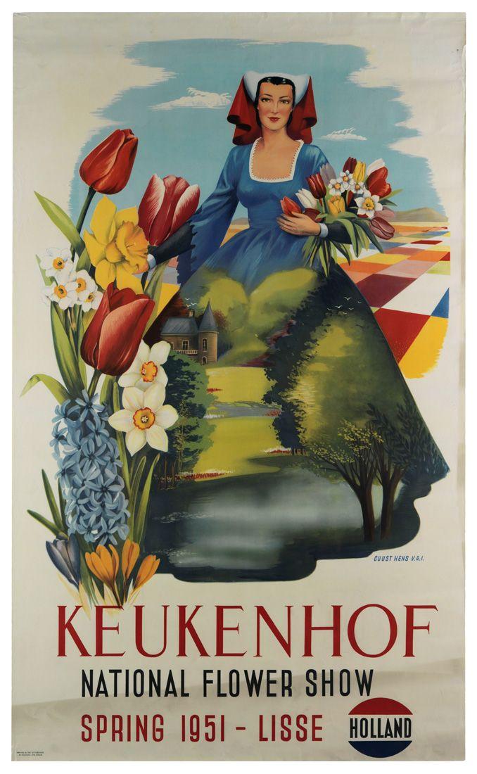 """Travel poster, """"Keukenhof, National Flower Show, Spring 1951 - Lisse, Holland"""""""