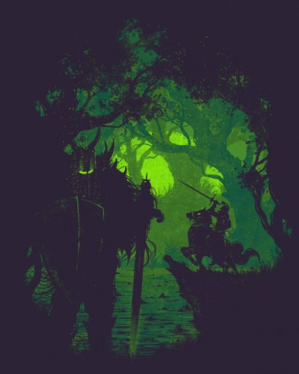 I like the shadow of the knight... but would rather a speak or a lance aimed at the beast....     Sentinela custom t-shirt design by Robson Borges #knight #fantasy #tshirt