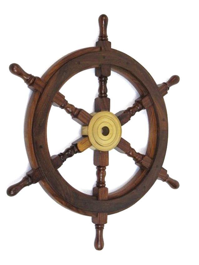 Captjimscargo Nautical 24 Teak Wood Boat Ships Steering Wheel Solid Br Hub