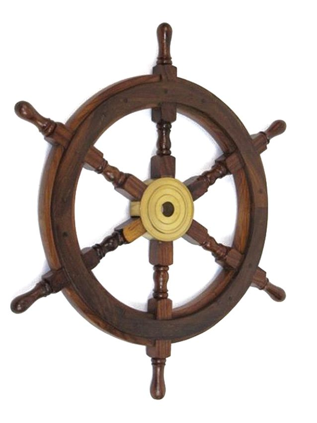 "CaptJimsCargo - Nautical 24"" Teak Wood Boat Ships Steering Wheel Solid Brass Hub, (http://www.captjimscargo.com/nautical-home-decor/ship-steering-wheels/nautical-24-teak-wood-boat-ships-steering-wheel-solid-brass-hub/) There is not a better way to enhance your nautical marine decor than with a rugged wooden ship steering wheel inside or outside (this solid wood ships wheel can weather the elements)."