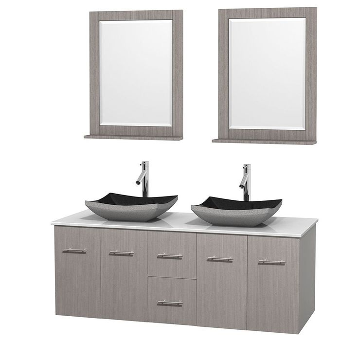 """Wyndham Collection Centra 60-inch Double Bathroom Vanity in Grey Oak, w/ Mirrors (Black Granite, Ivory Marble or White Carrera) (60"""" Grey Oak,WT StoneTop,Avalon Car Sinks,24"""" Mirs), Size Double Vanities"""