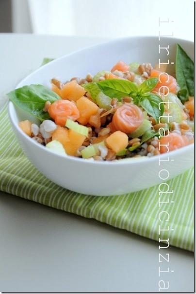 farro salad smoked salmon with melon celery and basil / insalata di farro con melone, sedano, salmone affumicato e basilico