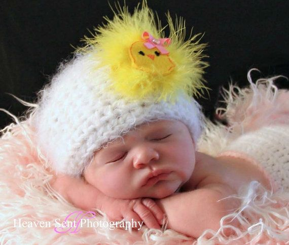 1st Easter Photo Shoot?~CUTE Chick Hat Newborn 0 3m or 6m Crochet Photo Prop Baby Girls Clothes Beanie Cap Spring 2012 Fathers Day Gift SOFT POPULAR. $34.95, via Etsy.