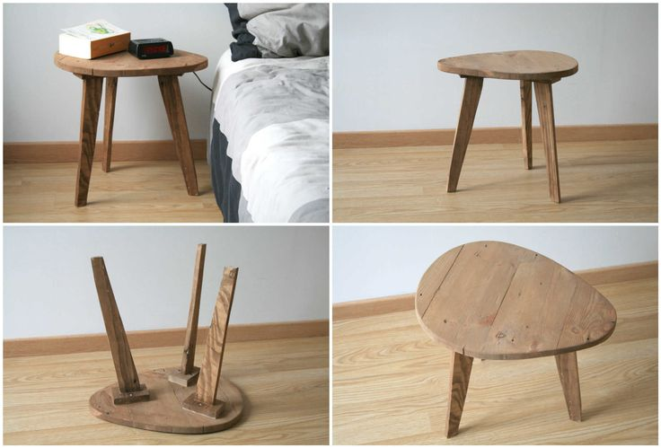 Handmade bedside table or coffee table, made from reclaimed pallet wood.