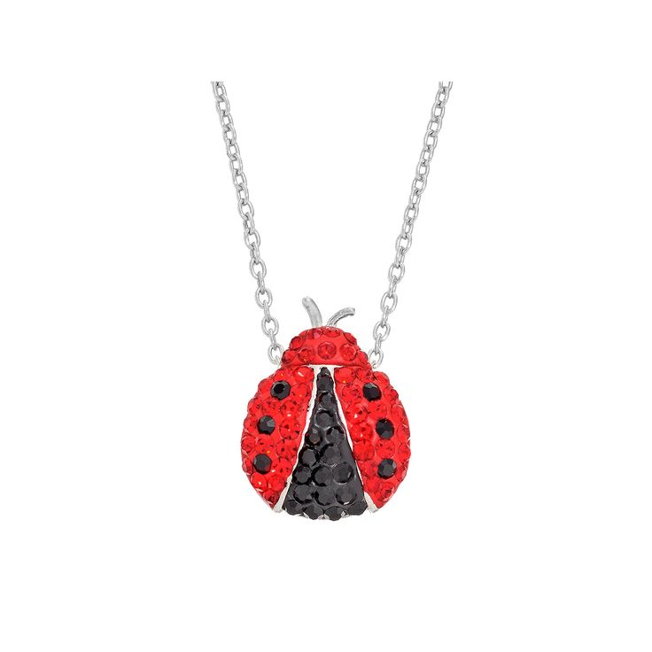 Crystal Ladybug Pendant Necklace, Women's, Red