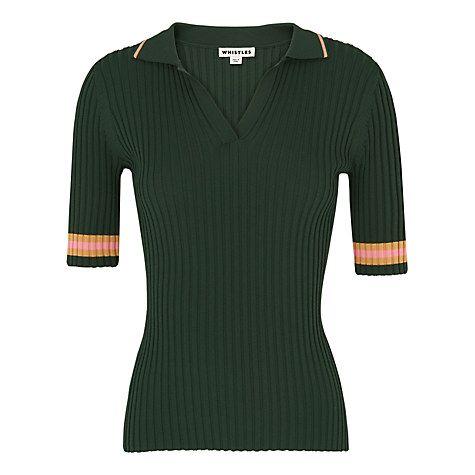 Buy Whistles Tipped Stripe Polo Shirt, Dark Green Online at johnlewis.com