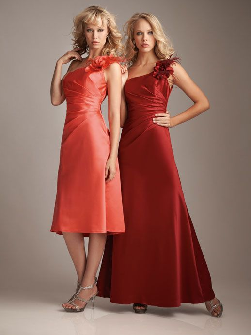 One shoulder satin bridesmaid dress with dropped waist --- like short one but idk about satin...