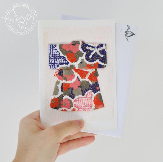 Introducing new origami greeting cards at the Teeny Folds shop on Etsy. These handmade cards are blank on the inside, making it perfect for any greeting, any occasion. This beautiful card is a red, blue and pink kimono on white card. #etsy #origami #kimono #stationery #handmade #cards
