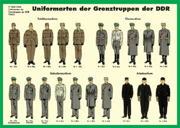 Uniforms of the border patrol, former East Germany