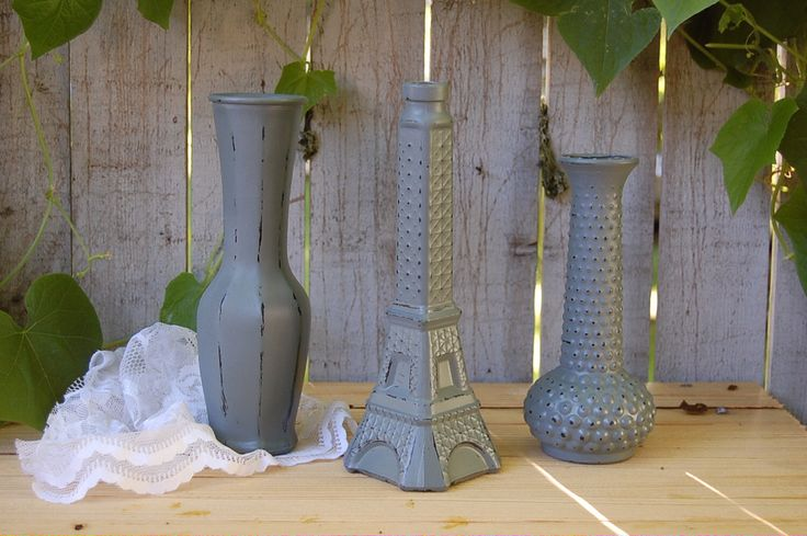 Shabby Chic Vases, Pewter, Grey, Hand Painted, Distressed, Glass, Eiffel Tower, Hobnail by TheVintageArtistry on Etsy https://www.etsy.com/listing/157612551/shabby-chic-vases-pewter-grey-hand