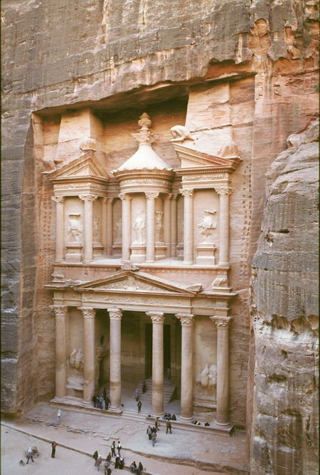 Inhabited for thousands of years, the strikingly beautiful desert city of Petra, Jordan was once home to a civilization long since vanished. Petra's location between the Red Sea and the Dead Sea made it an important center for commerce, where Arabian incense, Chinese silks, and Indian spices were traded.