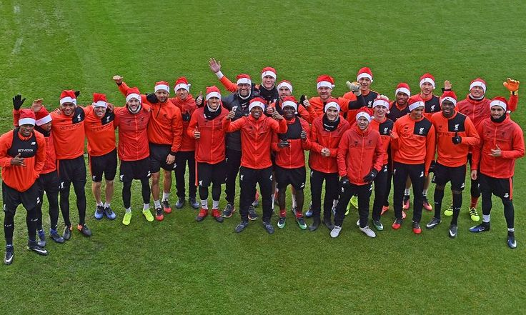 Photo: Klopp and the Reds get into festive spirit at Melwood