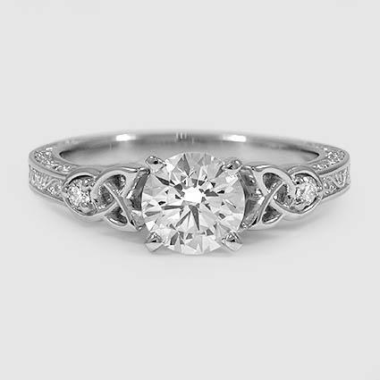 Platinum Aberdeen Diamond Ring // Set with a 1.24 Carat, Round, Super Ideal Cut, G Color, VS1 Clarity Diamond #BrilliantEarth