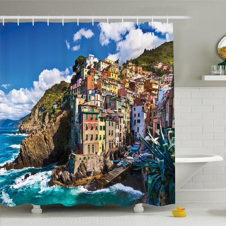 Farm House, Italian Mediterranean House by Cliffs Dramatic Weather Sea Cinque Terre Print Shower Curtain Set