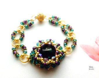 Braccialetto per i suoi cristalli perline, bracciale cabochon per donna, verde, viola, oro, fatto a mano, braccialetto d'oro, rivoli, fiori tessuto