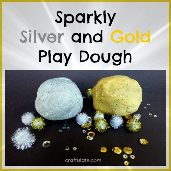 Sparkly Silver and Gold Play Dough by Craftulate