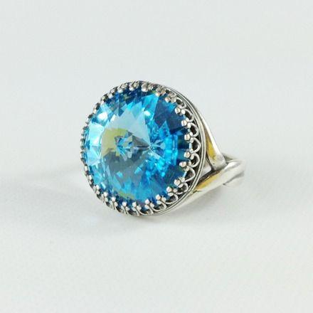 Blue collection per maracreativa Anello Aquamarine con grande cristallo Swarovski azzurro