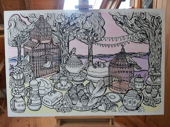 Fancy Features provide unique, bespoke murals which you and your guests can colour in!