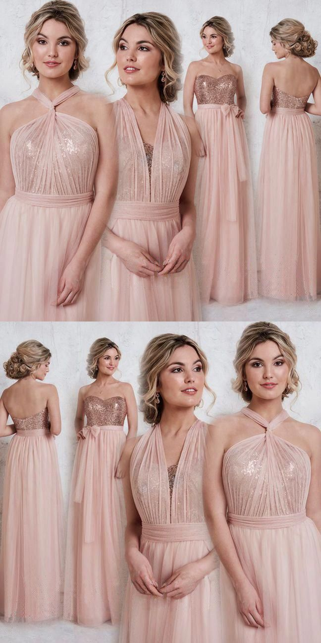 Rose gold bridsmaid dresses long bridesmaid dresses bridesmaid