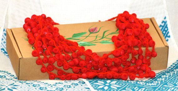 Gelaagde ketting met gehaakte ketting rode door GalerijazaHoryzontem