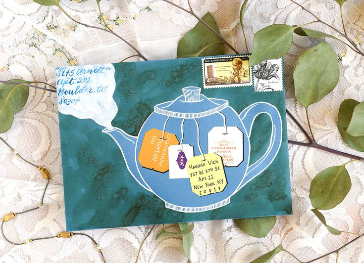 Illustrated Tea Pot Envelope Art Tutorial | The Postman's Knock :: If you have a few minutes to make some lovely and unique envelope art, then you'll enjoy this simple tutorial! Get your tea bag tags ready!