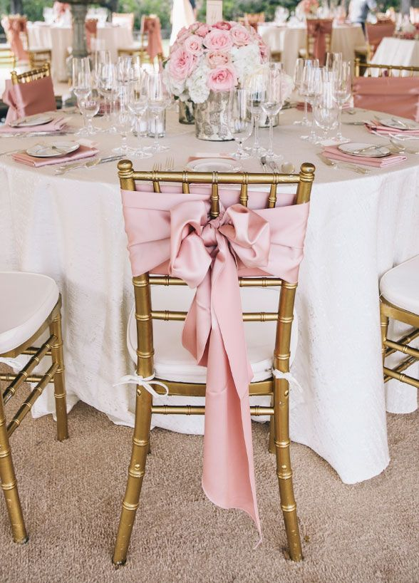 pink satin ribbon sash wedding chair decor