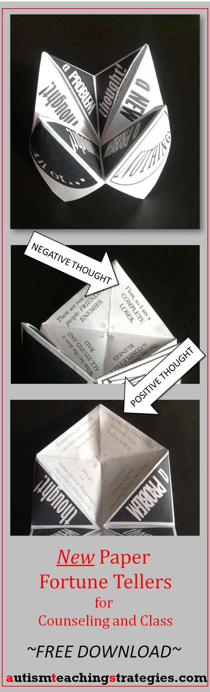 "This Paper Fortune Teller, one of a new set of 3, helps children to learn about ""All or Nothing Thinking,"" a style of thinking that leads to many upsetting emotions. Tags: cognitive behavioral therapy, children, game, counselling, autism"