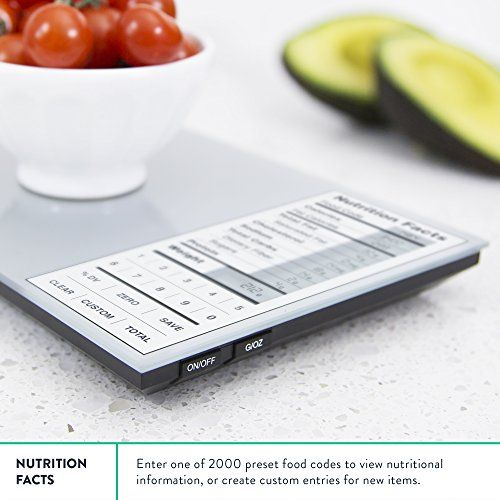 The Nourish Digital Kitchen Food Scale helps weigh your food while displaying the nutritional facts so you can maintain a healthy and sustainable diet.