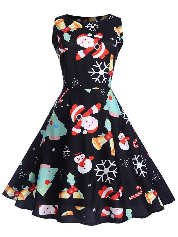 1590700521 Laceshe Women s Christmas Image Print Sleeveless Vintage Dress ...