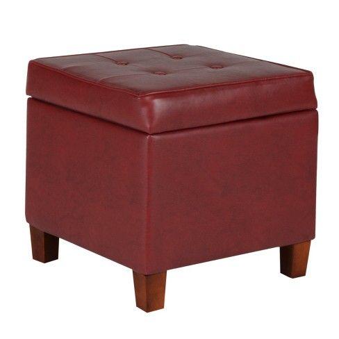 Brilliant Tufted Square Leatherette Storage Ottoman Dark Red Homepop Machost Co Dining Chair Design Ideas Machostcouk