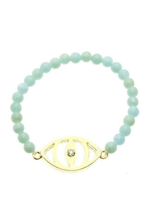 Evil Eye Stretch Bead Bracelet (Mint) – EvaMaria Boutique