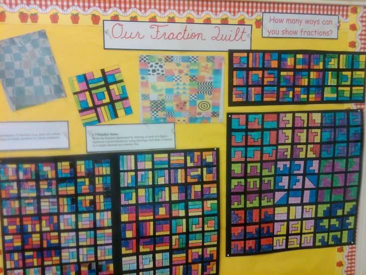 Nice display idea - make a fraction quilt from squares investigating different ways of making a given fraction