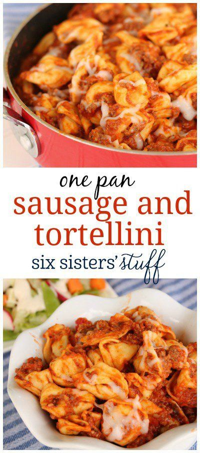 One Pan Sausage and Tortellini from SixSistersStuff.com   A delicious dinner recipe that feeds a crowd. And you only need one pan!