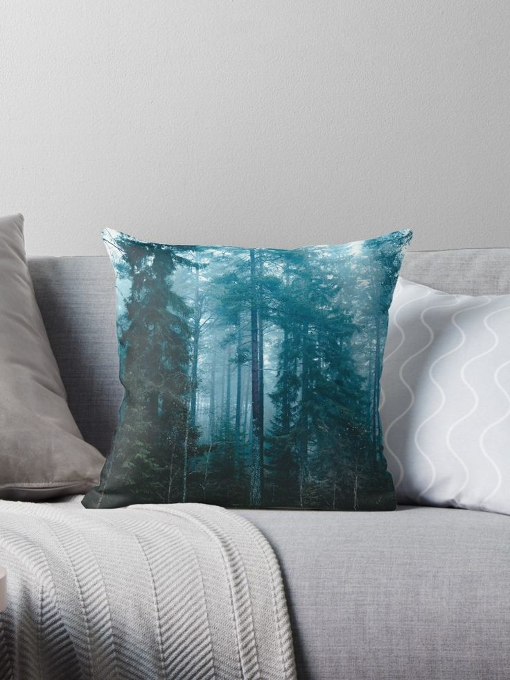 'Hard roads ahead' Throw Pillow by HappyMelvin. #forest #fog #nature #homedecor #pillow