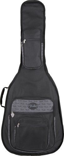 Fender Gig Bag - Deluxe Dreadnought Acoustic Guitar by Fender. $37.00. OK, you're still in a hurry to get to the gig, but you just know your guitar is gonna face a little more danger than usual, what with the clumsy roadies and rowdy audience and all.  What you need, bub, is a Fender Deluxe Series gig bag -a more bionic version of our Standard Series model -the same durable nylon and easy-grip handle, but with thicker 20 mm padding, two adjustable padded shoulder straps ...