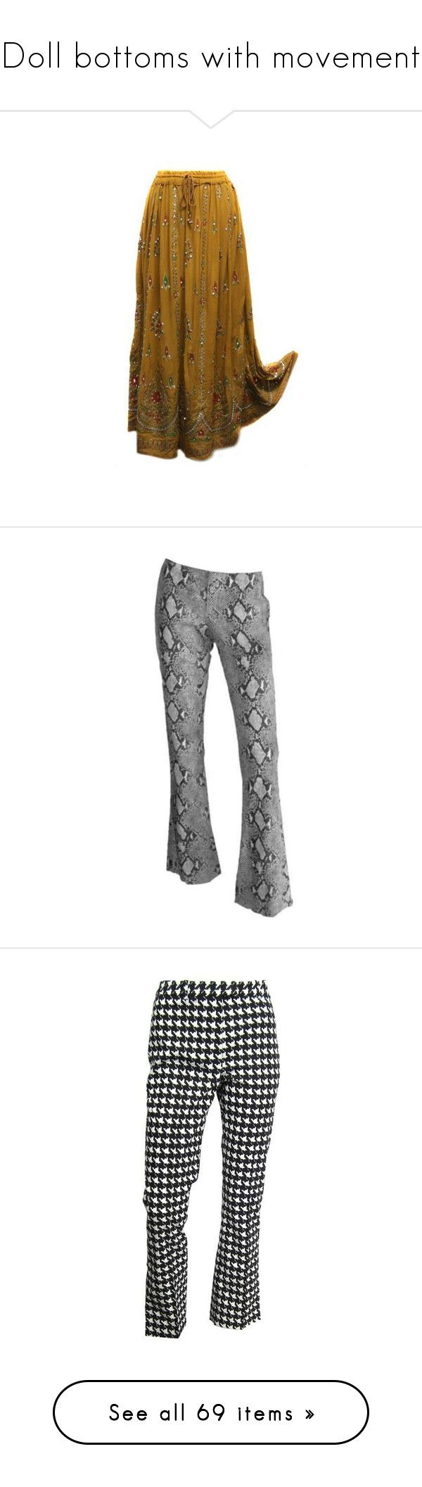 """Doll bottoms with movement"" by silviatanav ❤ liked on Polyvore featuring skirts, bottoms, long boho skirts, long gypsy skirt, long brown skirt, long sequin skirts, silver sequin maxi skirt, pants, pantalones and trousers"