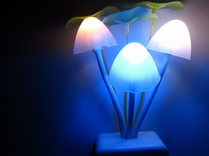 New Fantastic Mushroom Light Sense Control Led Night Wall Lamp US Adapter # Light