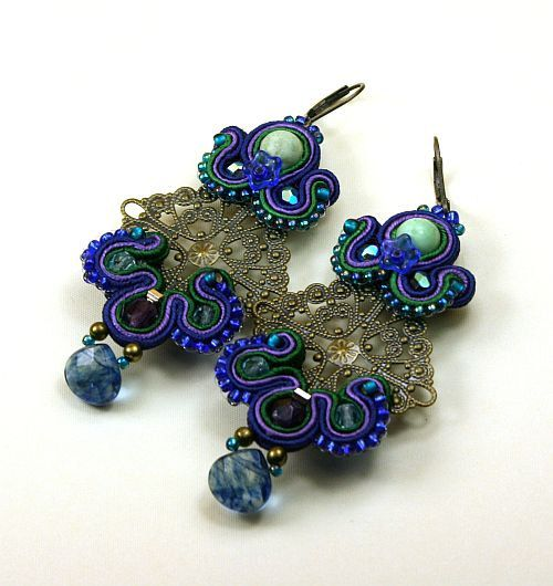 Antic earrings soutache braid Romance