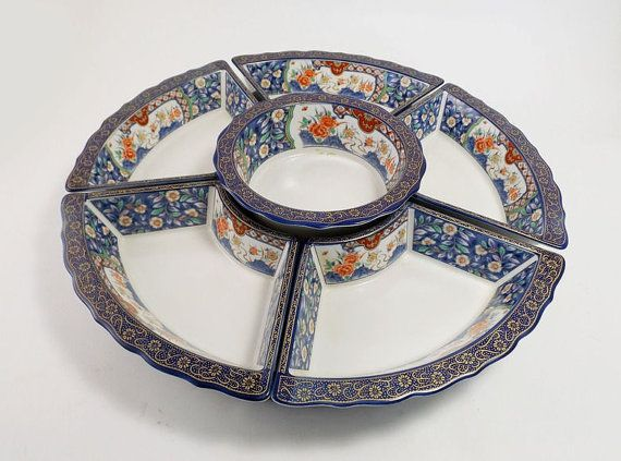 porcelain lazy susan with asian blue and white by