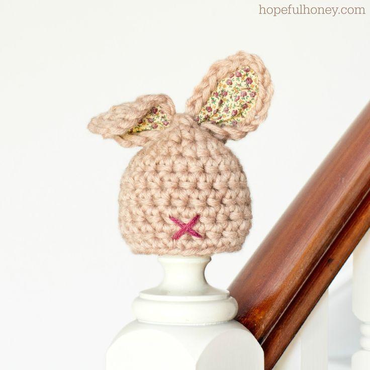 Newborn Bunny Hat Crochet Pattern via Hopeful Honey