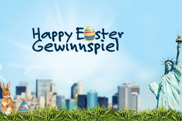 Gewinne im Happy Easter Gewinnspiel eine Reise nach New York im Wert von 2'000.- für 2 Personen!  Im Wettbewerb gibt es zusätzlich 15 x 100.- DeinDeal-Gutscheine zu gewinnen, 15 x 100.- PerfectHair.ch-Gutscheine, 15 x 100.- Manor-Gutscheine, 20 x 50.- Swisslos-Spielguthaben und 1 x 500.- für 1 Jahr gratis Swiss Lotto spielen.  Nimm hier gratis am Wettbewerb teil: http://www.gratis-schweiz.ch/gewinne-eine-reise-nach-new-york/