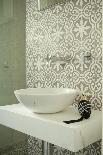 moroccan grey tiles splashback