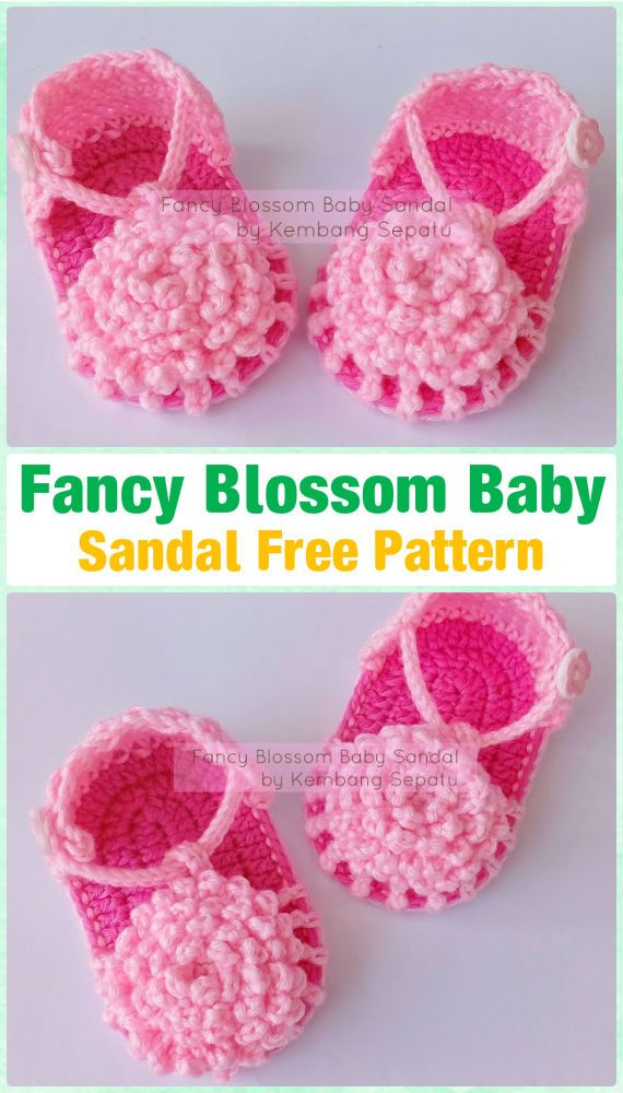 Crochet Fancy Blossom Baby Sandals Free Pattern - #Crochet Baby Flip Flop Sandals [FREE Patterns]
