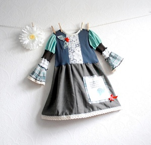 Upcycled, girl's teal green, gray and blue, bohemian style, dress in size 5 - 6. Shabby Chic, eco-friendly clothing