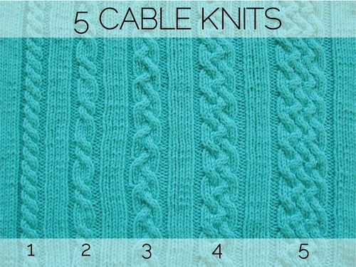 Five cable knit patterns.