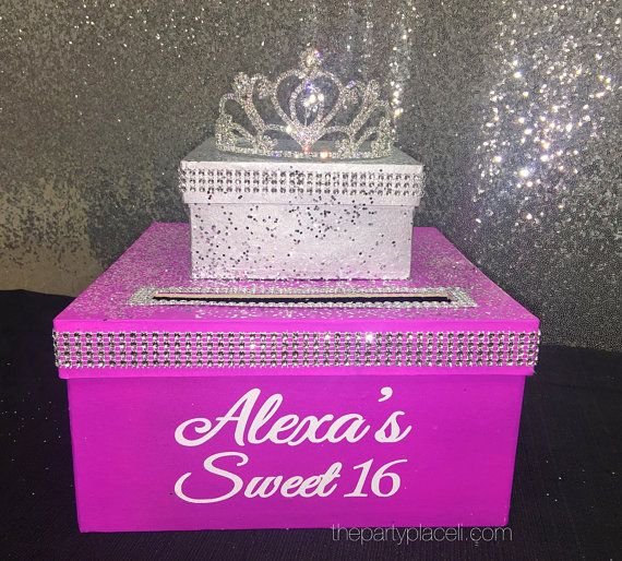 Two-Tier Card Box with Princess tiara and Bling by ThePartyPlaceLI