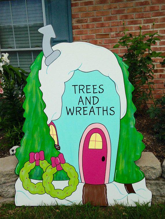 hp christmas grinch sitting on log yard art in yard decor ebay. Black Bedroom Furniture Sets. Home Design Ideas
