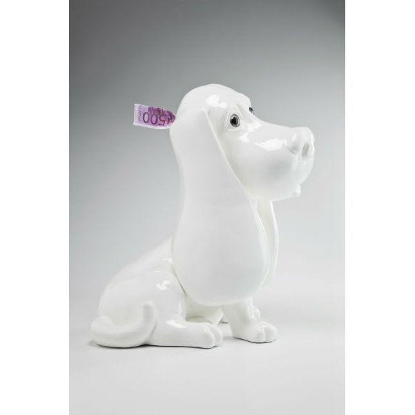 Κουμπαράς Royal Dog White 40cm  Εντυπωσιακός κουμπαράς με την μορφή ενός σκύλου, από polyresin σε γυαλιστερό λευκό χρώμα, ένα υπέροχο διακοσμητικό στοιχείο στο χώρο.