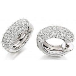 Cercei Creole Aur Alb 18kt cu Diamante Forma Rotund Briliant in Setare Pavata - RDE043W